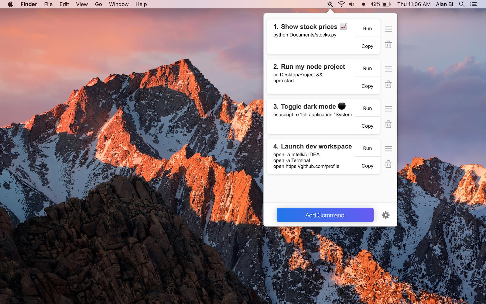 Bidbar - Save and run Terminal commands from the menu bar